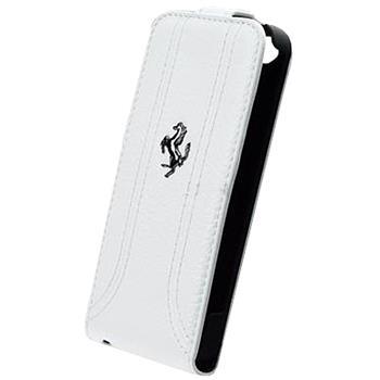 FEFFFLP5FW Ferrari Kožené Flip Pouzdro pro iPhone 5, 5S White