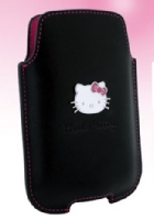 Hello Kitty Kožené Pouzdro Black vel. L