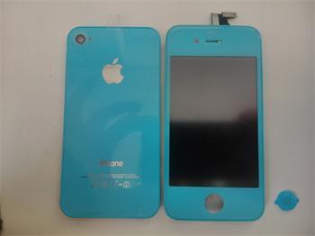 iPhone 4 LCD + dotykové sklíčko + home tlačítko, modré