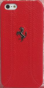 iPhone 5, 5S, SE FEFFHCP5RE Ferrari Zadní Kožený Kryt Red