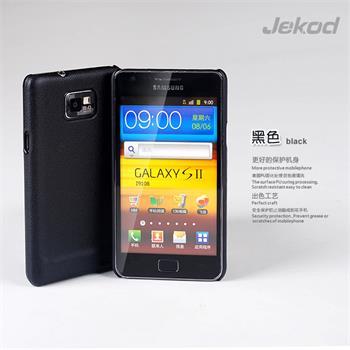 JEKOD Shield Kožený Zadní Kryt Black pro Samsung i9100