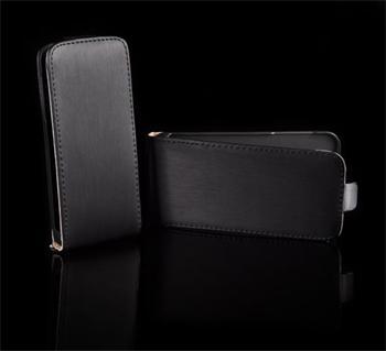 Kožené knižkové púzdro NEO slim iPhone 5/5S/SE Čierne