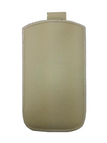 Kožené púzdro veľkosť 08 béžové s pásikom pre Sam. S6102, Sam. E2652W, Sam. S5300, Sam. Star III, Sam. S5360, Nokia C2-06, Nokia 2