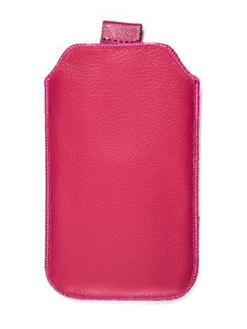 Kožené púzdro veľkosť 08 ružové s pásikom pre Sam. S6102, Sam. E2652W, Sam. S5300, Sam. Star III, Sam. S5360, Nokia C2-06, Nokia 2