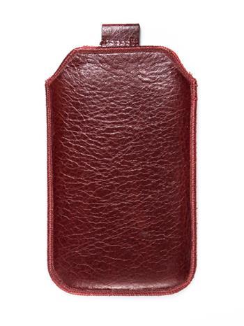 Kožené púzdro veľkosť 08 tmavočervená s pásikom pre Sam. S6102, Sam. E2652W, Sam. S5300, Sam. Star III, Sam. S5360, Nokia C2-06, N