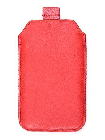 Kožené púzdro veľkosť 18 červené s pásikom pre Sam. E2652W, Sam. C3300, SE ST15i, Sony Ericsson Mix Walkman,. ny Ericsson X8, Moto