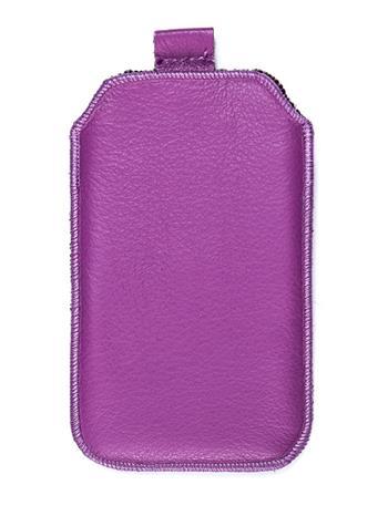 Kožené púzdro veľkosť 19 fialové s pásikom pre Sam. E2652W, Sam. S 5300, Sam. S 5220, Sam. S 5360, Nokia C2-02, Nokia C2-06, Motor
