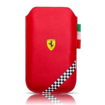 Lumia 710, XPERIA X8, S5611 FEFOSLMR Ferrari Formula 1 Universal Kožené Pouzdro Red vel. M