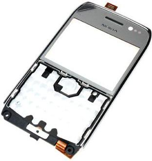 Nokia E6-00 Silver Přední Kryt vč. Dotyku