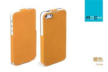 ROCK Eternal Kožené Flip Pouzdro pro iPhone 5, 5S Orange