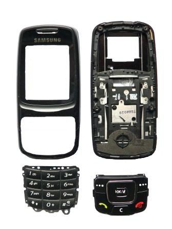 Samsung C300 kryt Black SWAP, přední,slide,komplet klávesy