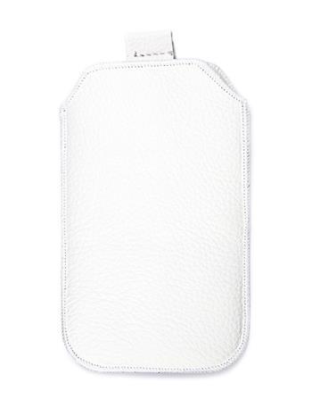 Samsung S5610, S5611, NOKIA 301, E512, Nokia 515 Pravé kožené púzdro veľkosť 28 biele s vyťahovacím pútkom