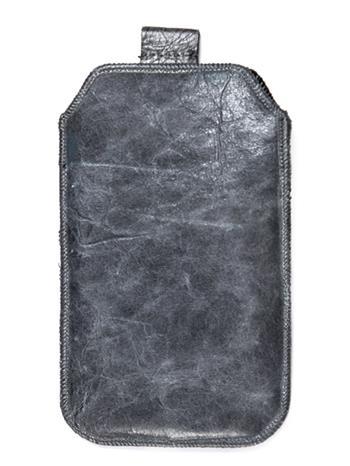 Samsung S5610, S5611, NOKIA 301, E512, Nokia 515 Pravé kožené púzdro veľkosť 28 sivé s vyťahovacím pútkom
